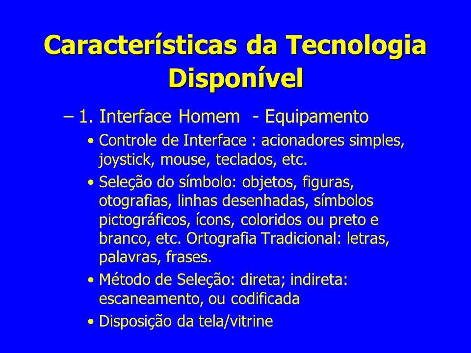 Características da Tecnologia Disponível