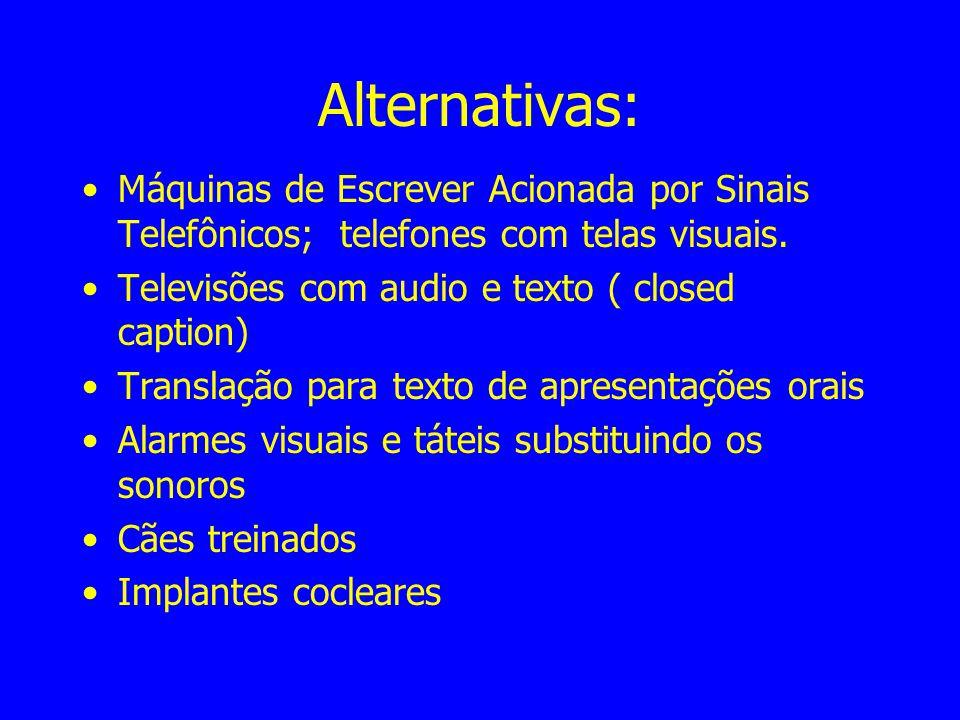 Alternativas: Máquinas de Escrever Acionada por Sinais Telefônicos; telefones com telas visuais. Televisões com audio e texto ( closed caption)