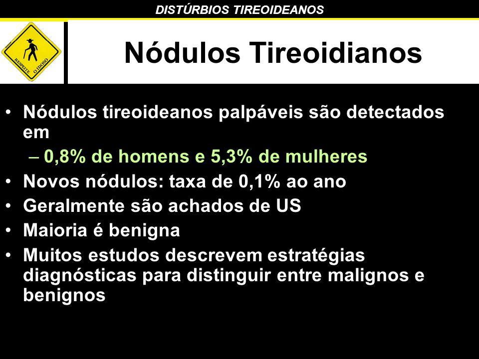 Nódulos Tireoidianos Nódulos tireoideanos palpáveis são detectados em