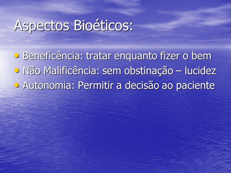 Aspectos Bioéticos: Beneficência: tratar enquanto fizer o bem