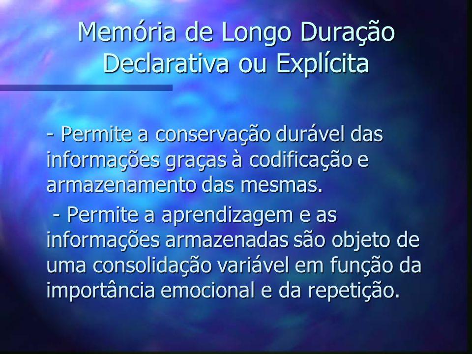Memória de Longo Duração Declarativa ou Explícita
