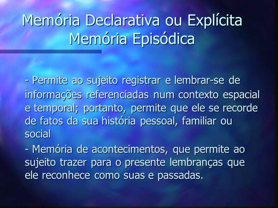 Memória Declarativa ou Explícita Memória Episódica