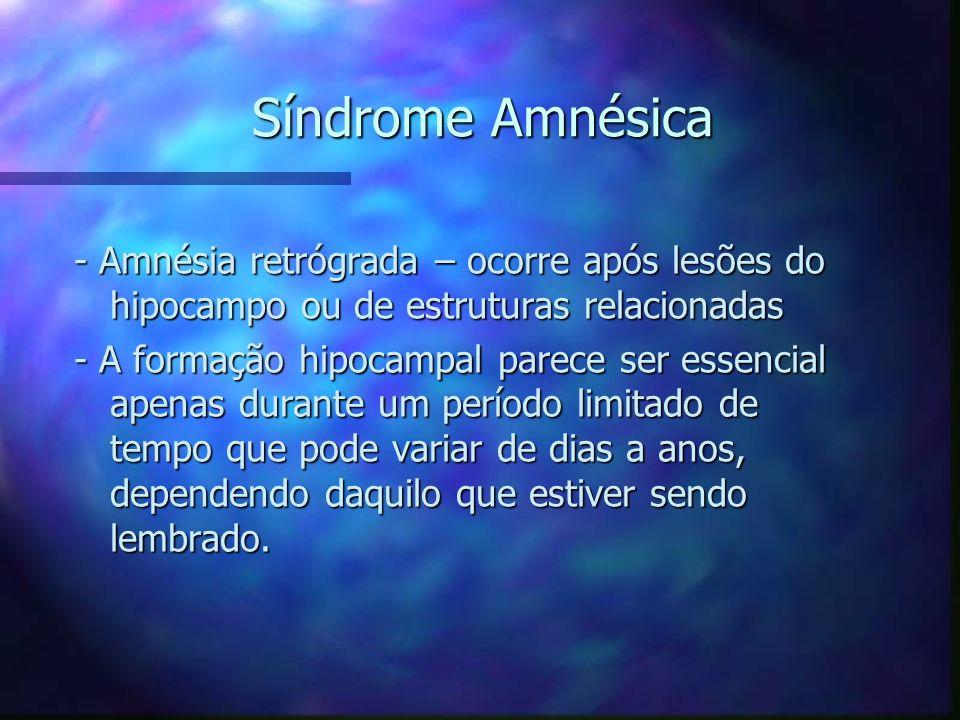 Síndrome Amnésica - Amnésia retrógrada – ocorre após lesões do hipocampo ou de estruturas relacionadas.