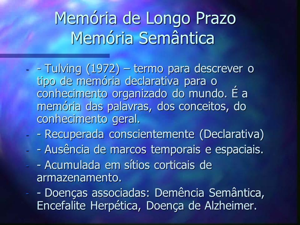 Memória de Longo Prazo Memória Semântica