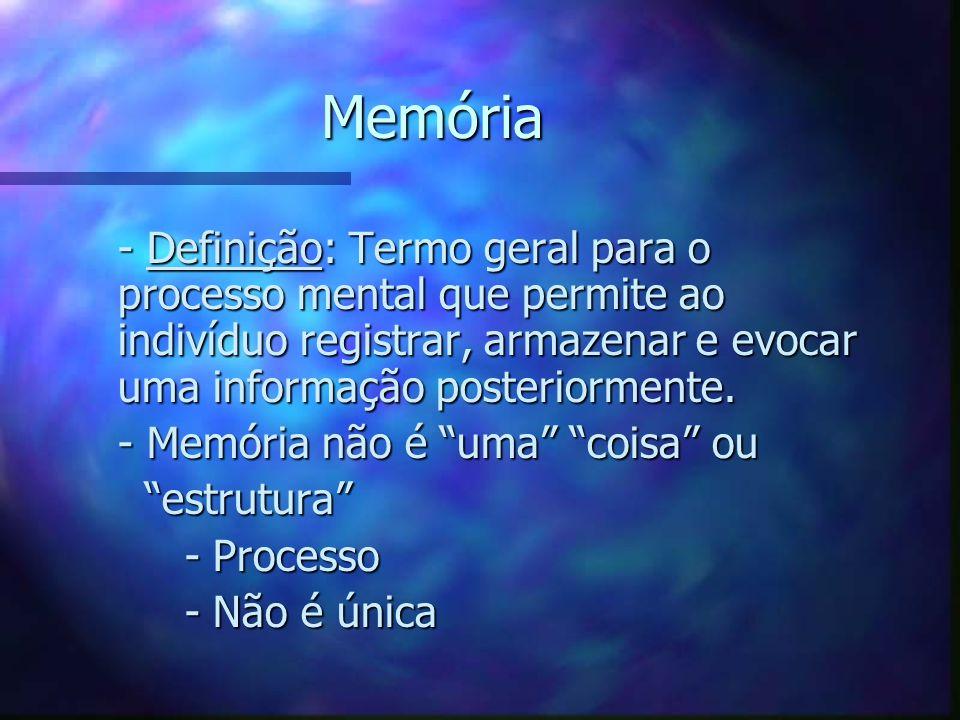 Memória - Definição: Termo geral para o processo mental que permite ao indivíduo registrar, armazenar e evocar uma informação posteriormente.
