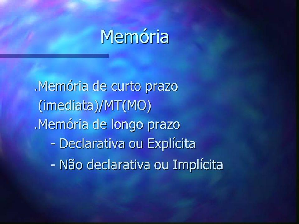 Memória .Memória de curto prazo (imediata)/MT(MO)