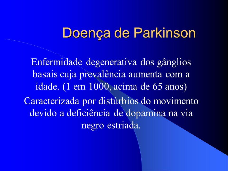 Doença de Parkinson Enfermidade degenerativa dos gânglios basais cuja prevalência aumenta com a idade. (1 em 1000, acima de 65 anos)