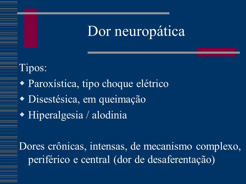 Dor neuropática Tipos: Paroxística, tipo choque elétrico