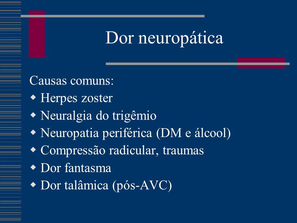 Dor neuropática Causas comuns: Herpes zoster Neuralgia do trigêmio