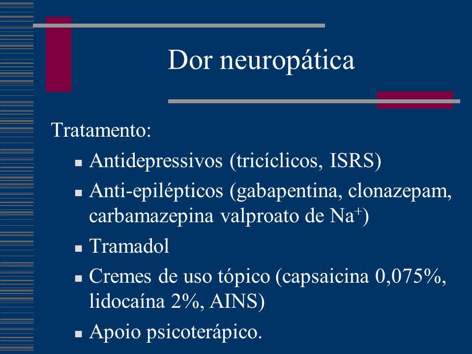 Dor neuropática Tratamento: Antidepressivos (tricíclicos, ISRS)