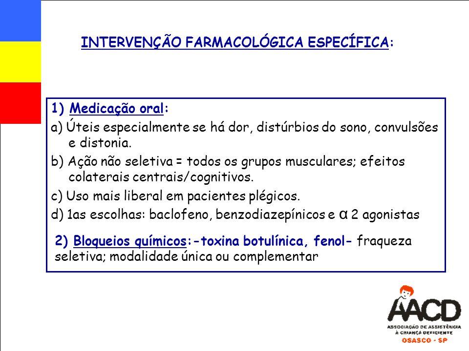 INTERVENÇÃO FARMACOLÓGICA ESPECÍFICA: