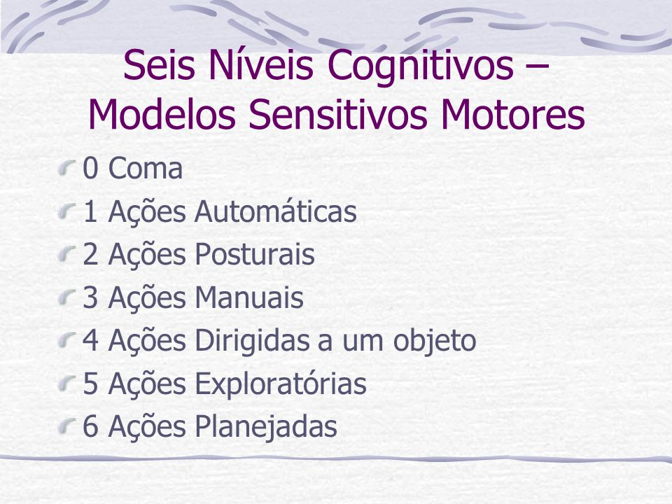 Seis Níveis Cognitivos – Modelos Sensitivos Motores