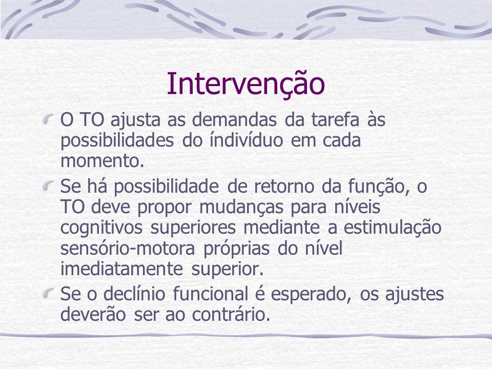 Intervenção O TO ajusta as demandas da tarefa às possibilidades do índivíduo em cada momento.