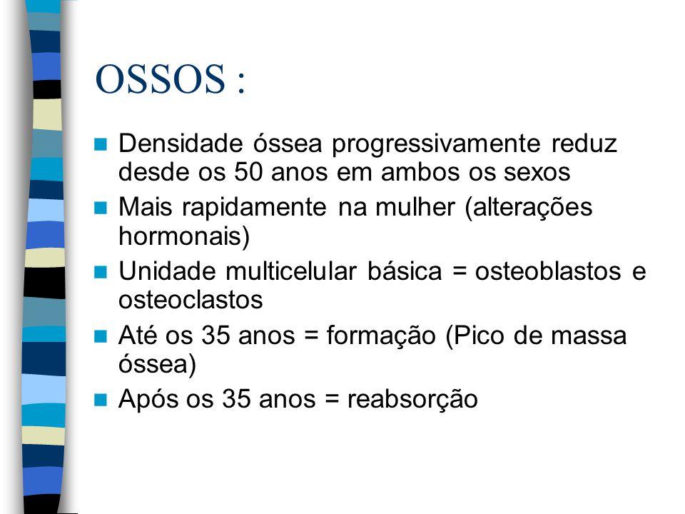 OSSOS : Densidade óssea progressivamente reduz desde os 50 anos em ambos os sexos. Mais rapidamente na mulher (alterações hormonais)