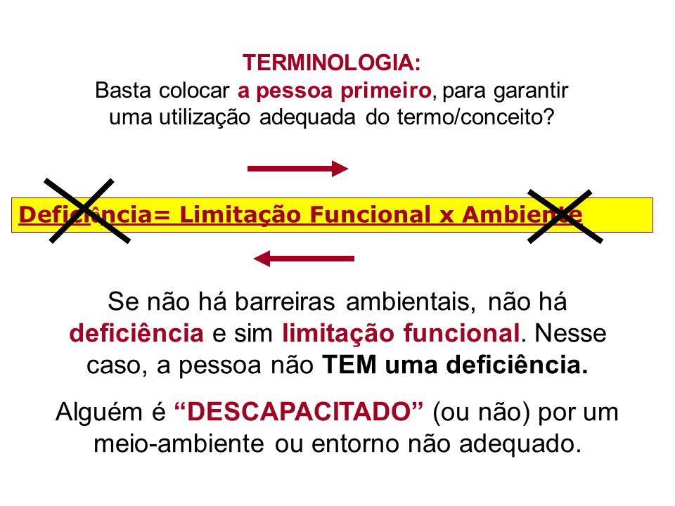 TERMINOLOGIA: Basta colocar a pessoa primeiro, para garantir uma utilização adequada do termo/conceito