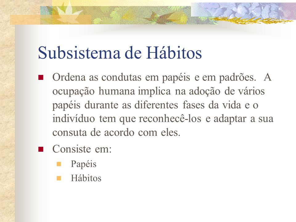 Subsistema de Hábitos
