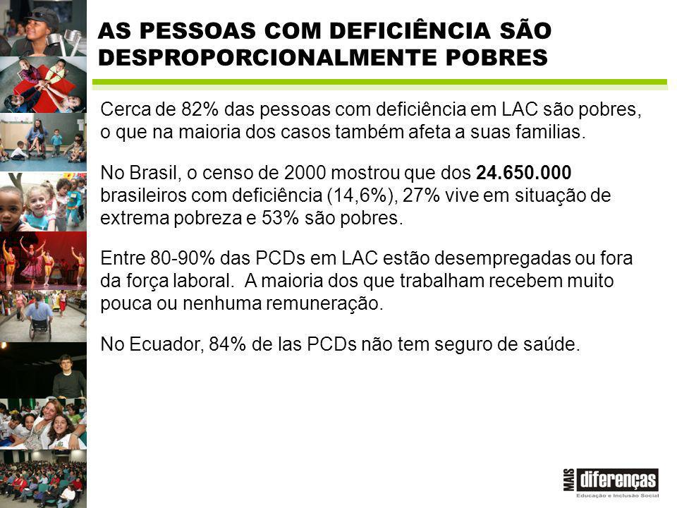 AS PESSOAS COM DEFICIÊNCIA SÃO DESPROPORCIONALMENTE POBRES