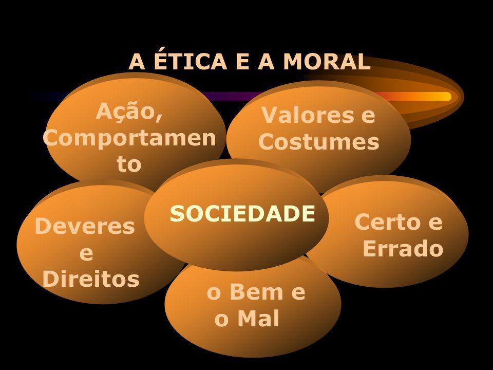 A ÉTICA E A MORAL Ação, Comportamento. Valores e Costumes. SOCIEDADE. Certo e. Errado. Deveres.