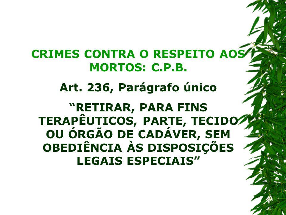 CRIMES CONTRA O RESPEITO AOS MORTOS: C.P.B.