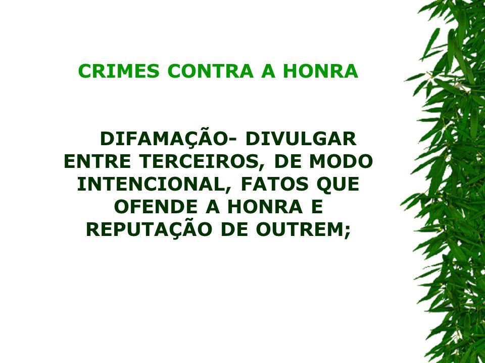 CRIMES CONTRA A HONRA DIFAMAÇÃO- DIVULGAR ENTRE TERCEIROS, DE MODO INTENCIONAL, FATOS QUE OFENDE A HONRA E REPUTAÇÃO DE OUTREM;