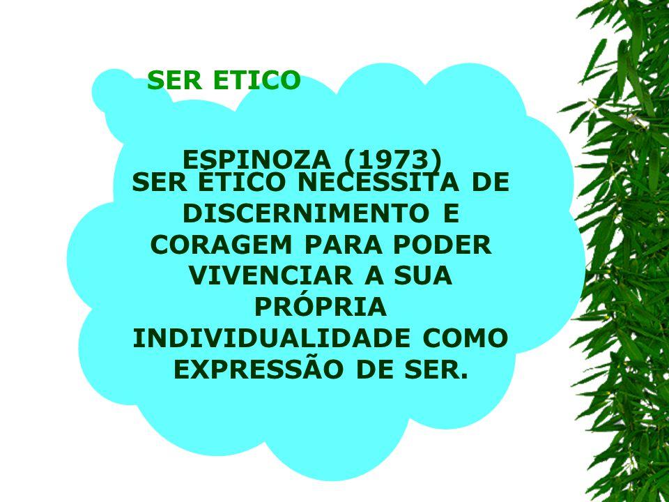 SER ETICO ESPINOZA (1973) SER ÉTICO NECESSITA DE DISCERNIMENTO E CORAGEM PARA PODER VIVENCIAR A SUA PRÓPRIA INDIVIDUALIDADE COMO EXPRESSÃO DE SER.