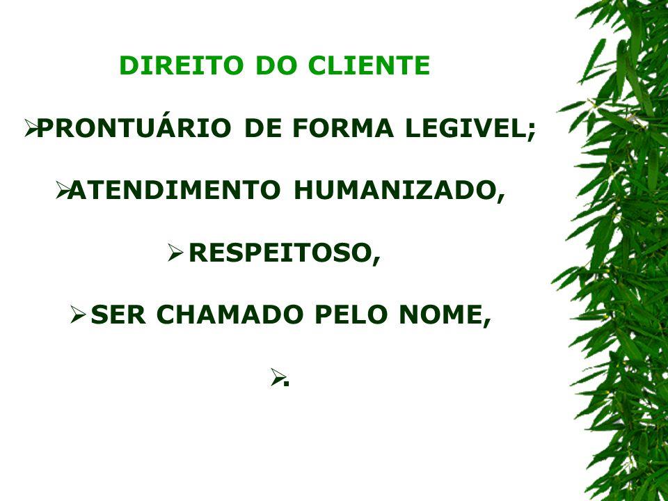 PRONTUÁRIO DE FORMA LEGIVEL; ATENDIMENTO HUMANIZADO,