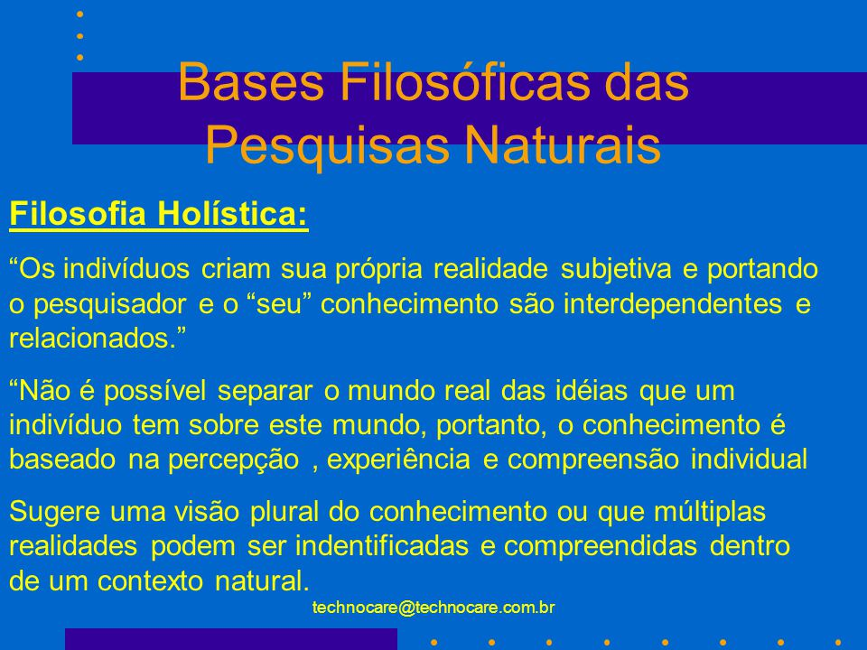 Bases Filosóficas das Pesquisas Naturais