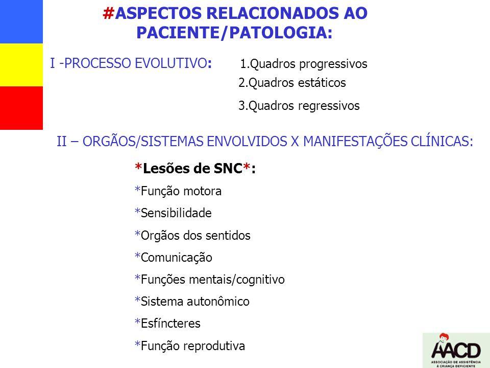 #ASPECTOS RELACIONADOS AO PACIENTE/PATOLOGIA: