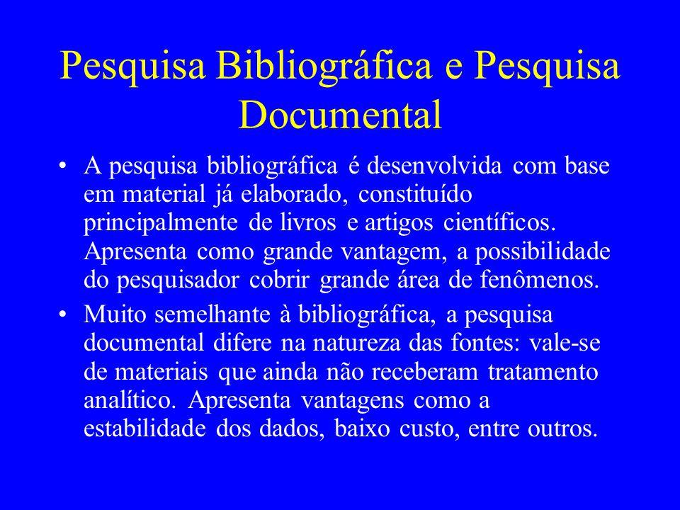 Pesquisa Bibliográfica e Pesquisa Documental