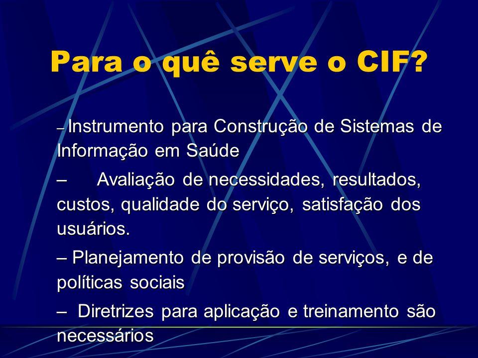 Para o quê serve o CIF Instrumento para Construção de Sistemas de Informação em Saúde.