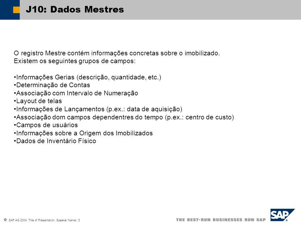 J10: Dados Mestres O registro Mestre contém informações concretas sobre o imobilizado. Existem os seguintes grupos de campos: