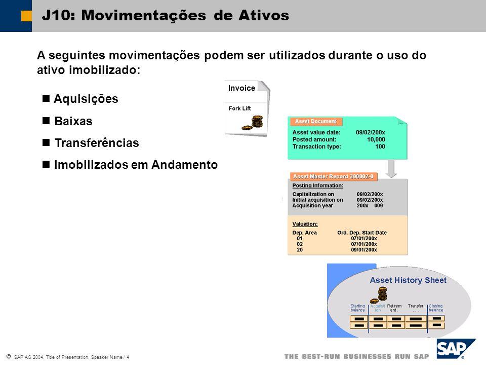 J10: Movimentações de Ativos