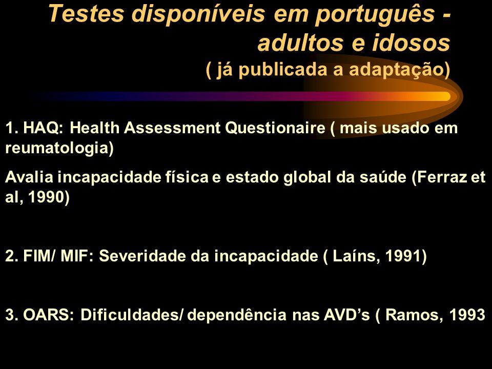 Testes disponíveis em português - adultos e idosos ( já publicada a adaptação)