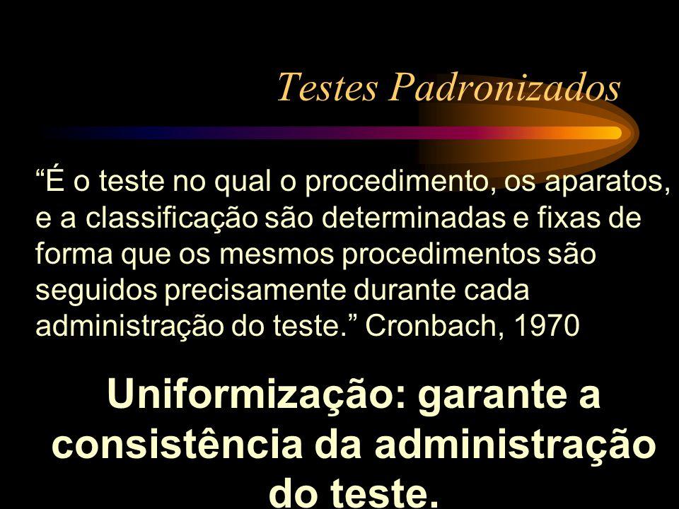 Uniformização: garante a consistência da administração do teste.