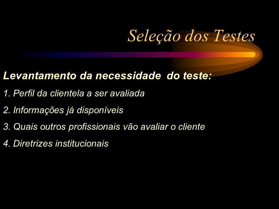 Seleção dos Testes Levantamento da necessidade do teste: