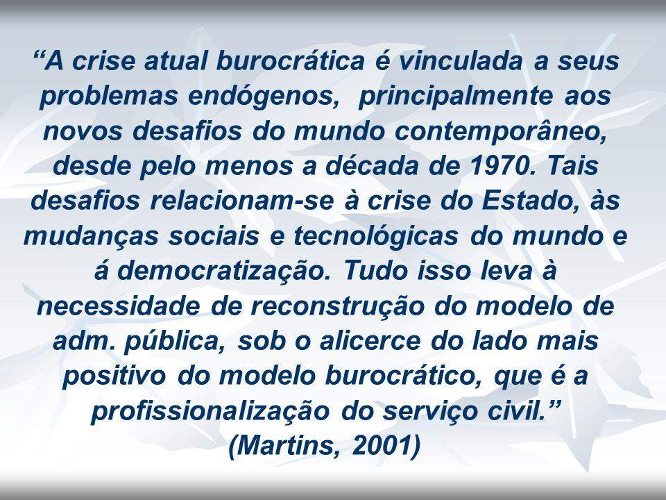 A crise atual burocrática é vinculada a seus problemas endógenos, principalmente aos novos desafios do mundo contemporâneo, desde pelo menos a década de 1970.