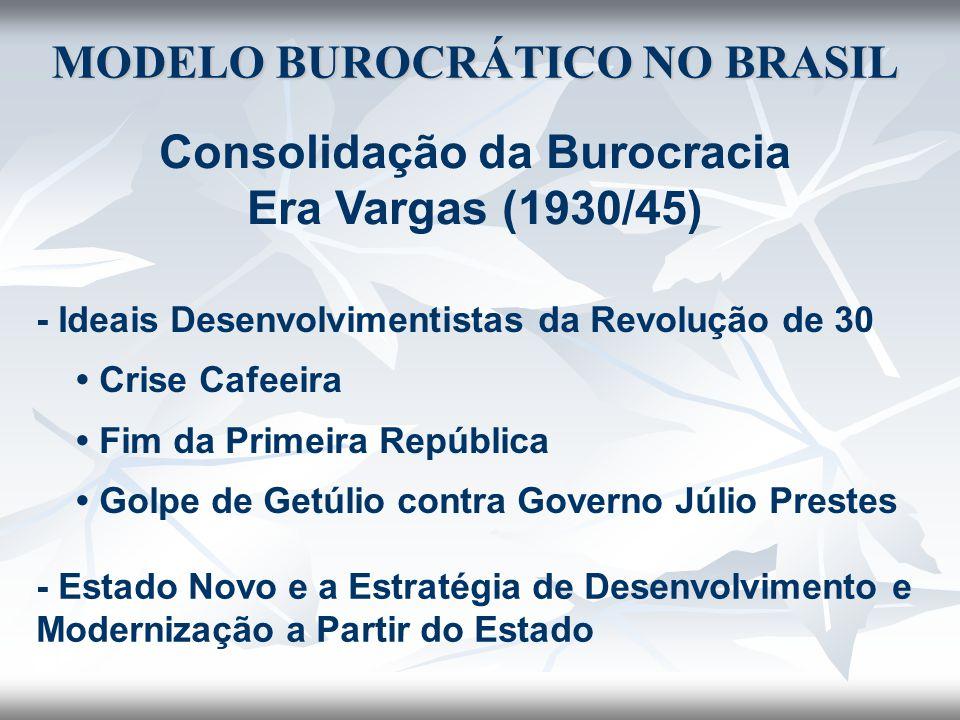 MODELO BUROCRÁTICO NO BRASIL Consolidação da Burocracia