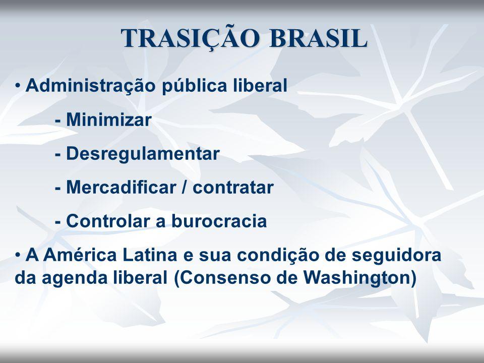 TRASIÇÃO BRASIL Administração pública liberal - Minimizar