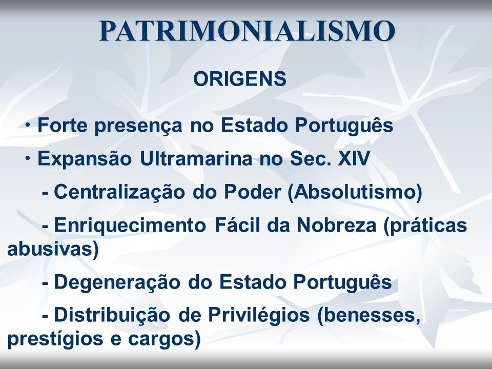 PATRIMONIALISMO ORIGENS  Forte presença no Estado Português