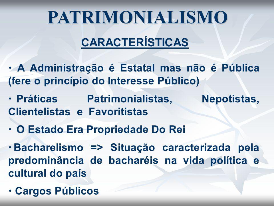 PATRIMONIALISMO CARACTERÍSTICAS