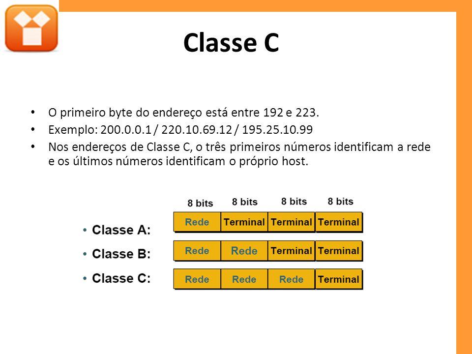 Classe C O primeiro byte do endereço está entre 192 e 223.