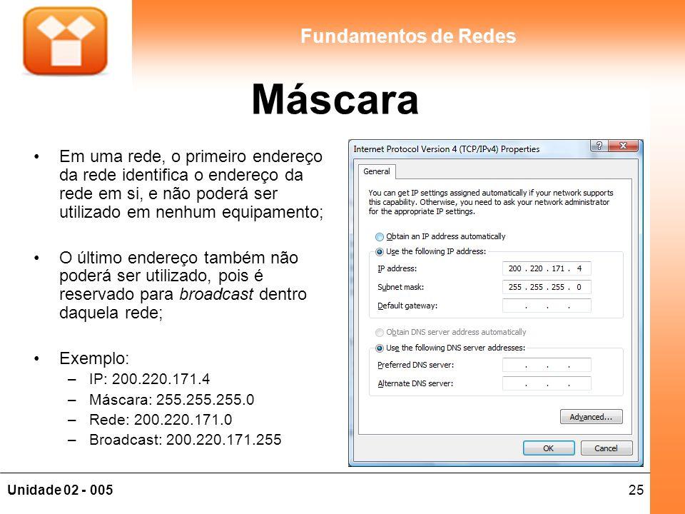 Máscara Em uma rede, o primeiro endereço da rede identifica o endereço da rede em si, e não poderá ser utilizado em nenhum equipamento;