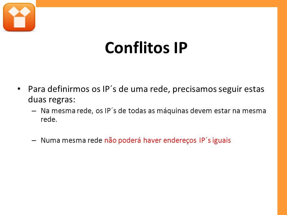 Conflitos IP Para definirmos os IP´s de uma rede, precisamos seguir estas duas regras: