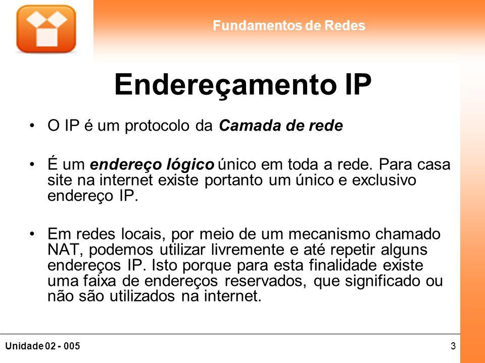 Endereçamento IP O IP é um protocolo da Camada de rede