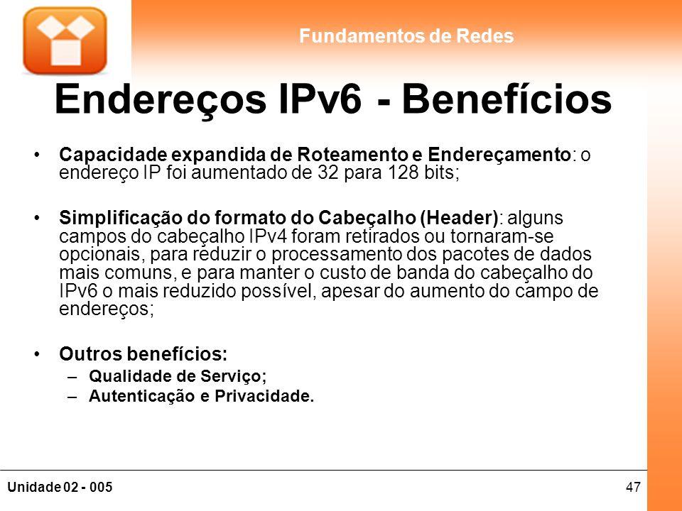 Endereços IPv6 - Benefícios