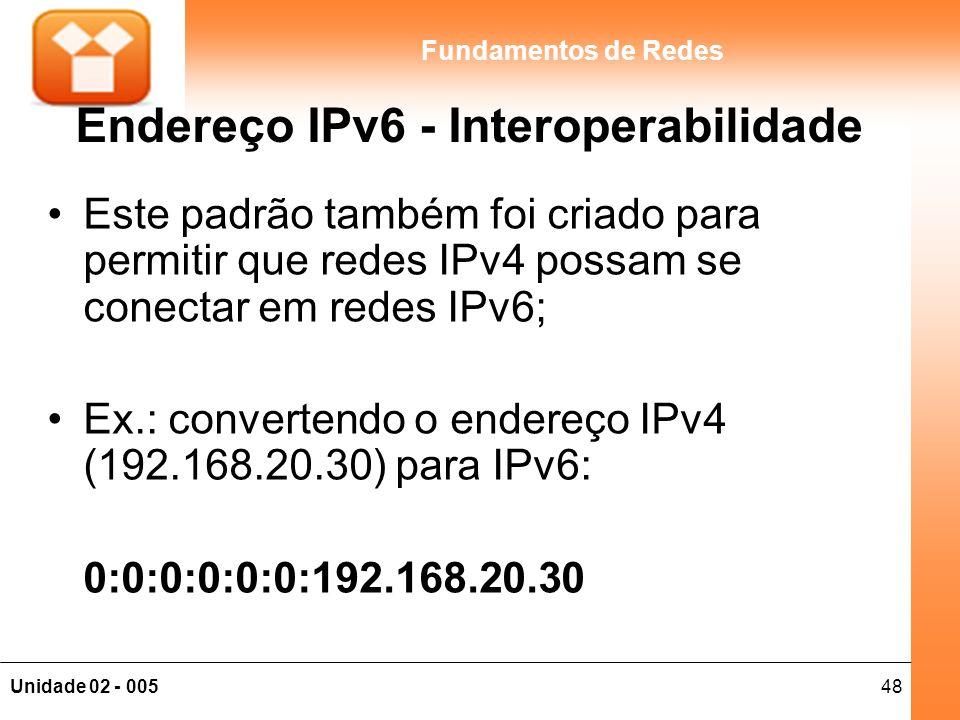 Endereço IPv6 - Interoperabilidade