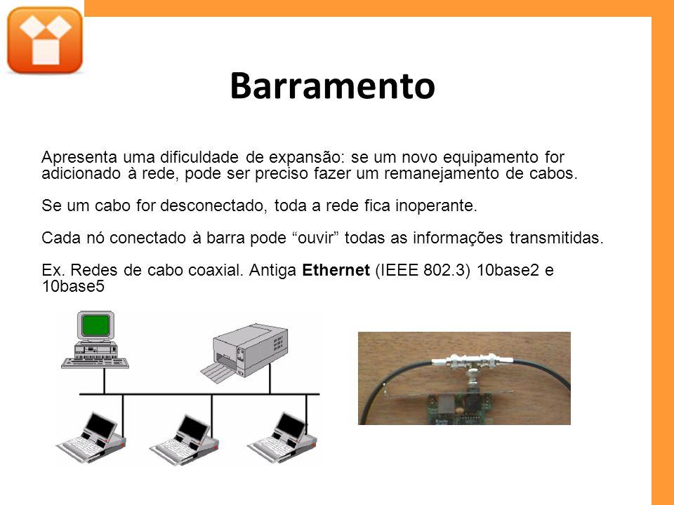 Barramento Apresenta uma dificuldade de expansão: se um novo equipamento for adicionado à rede, pode ser preciso fazer um remanejamento de cabos.