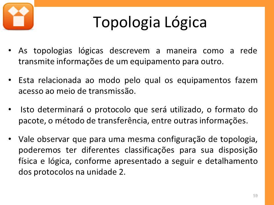 Topologia Lógica As topologias lógicas descrevem a maneira como a rede transmite informações de um equipamento para outro.