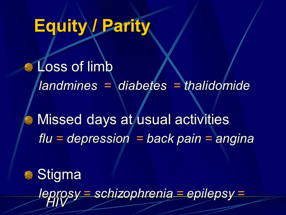 Equity / Parity Loss of limb Missed days at usual activities Stigma