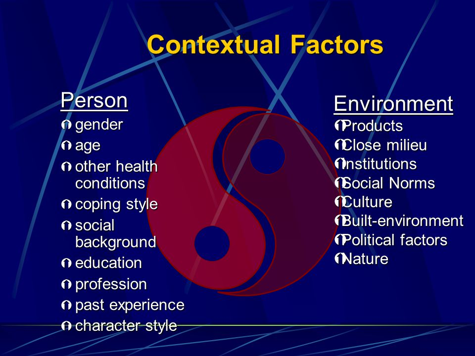 Contextual Factors Person Environment gender Products age Close milieu